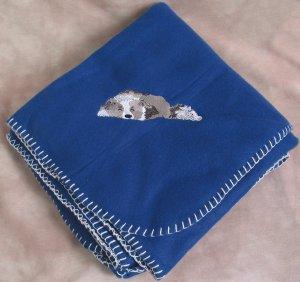 Polyester Border Collie Dog Royal Blue Fleece Throw