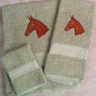 Embroidered Mule Head on Sage Bath Towel Set