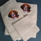 Embroidered Beagle Dog Cream Bath Towels Set