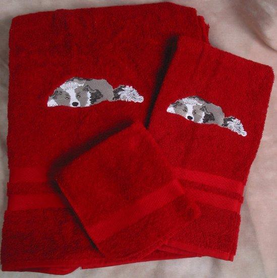 Embroidered Border Collie DOG Red Bath Towels Set