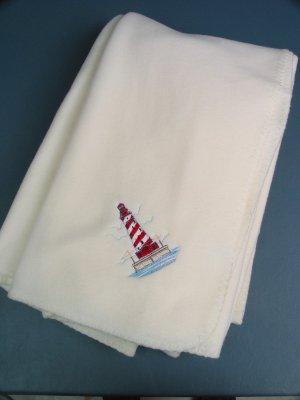 Polyester White Shoal LIGHTHOUSE Fleece Throw
