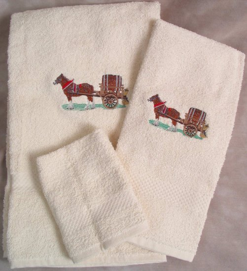 Embroidered Clydesdales HORSE Cart Bath Towels Set