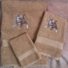 Embroidered Kitten CAT Beige Wash Hand Bath Towels Set
