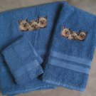 Embroidered Siamese CATS Blue Wash Hand Bath Towels Set