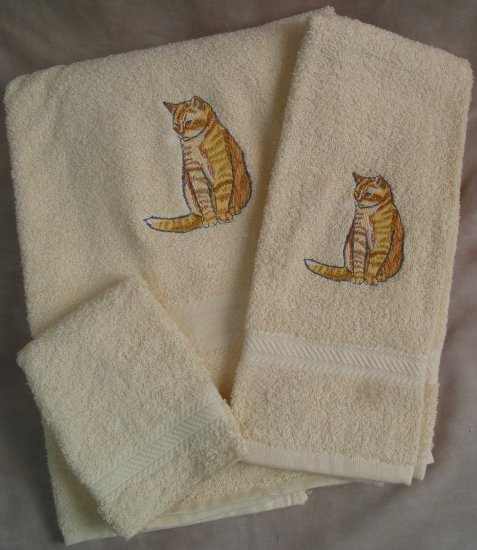 Embroidered Yellow Tiger Stripe Cat Cream Wash Hand Bath Towels Set