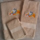 Embroidered Cat Autumn Leaves Tan Wash Hand Bath Towels Set