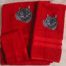 Embroidered Long Hair Black Cat Red Wash Hand Bath Towels Set