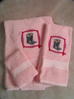 Embroidered Western Boots on Pink Wash Hand Bath Towels Set