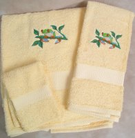 Embroidered Tree Frog Cream Wash Hand Bath Towels Set