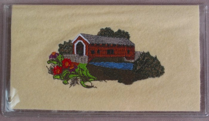 Felt Embroidered Covered Bridge with Flowers Vinyl White Checkbook Cover