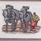 Felt Embroidered Draft Horse Plowing White Vinyl Checkbook Cover