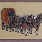 Felt Embroidered Draft Horse Team Cream Vinyl Checkbook Cover