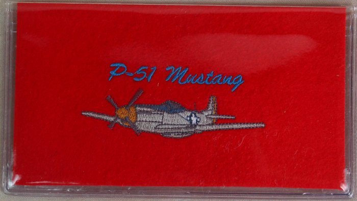Felt Embroidered P-51 Mustang Airplane Red Vinyl Checkbook Cover