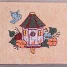 Felt Embroidered Bird House Peach Vinyl Checkbook Cover