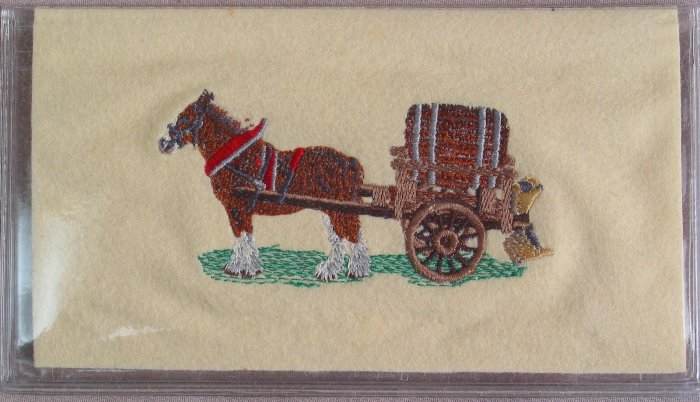 Felt Embroidered Clydesdale and Cart Cream Vinyl Checkbook Cover