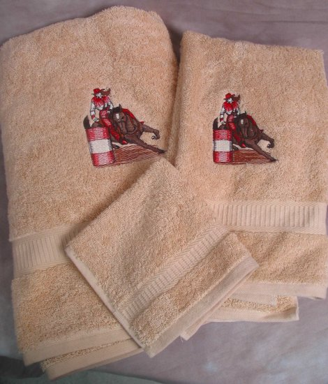 Embroidered Barrel Racer HORSE Beige Wash Hand Bath Towel Set