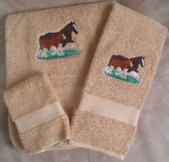 Embroidered Clydesdale Mare & Foal Beige Wash Hand Bath Towels Set