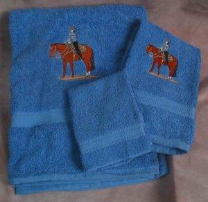 Embroidered Western Pleasure HORSE Medium Blue Wash Hand Bath Towel Set