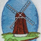 Embroidered Dutch Wooden Windmill White Wash Hand Bath Towel Set