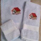 Embroidered Blue bird with Moon & Stars Birdhouse  Blue Wash Hand Bath Towel Set