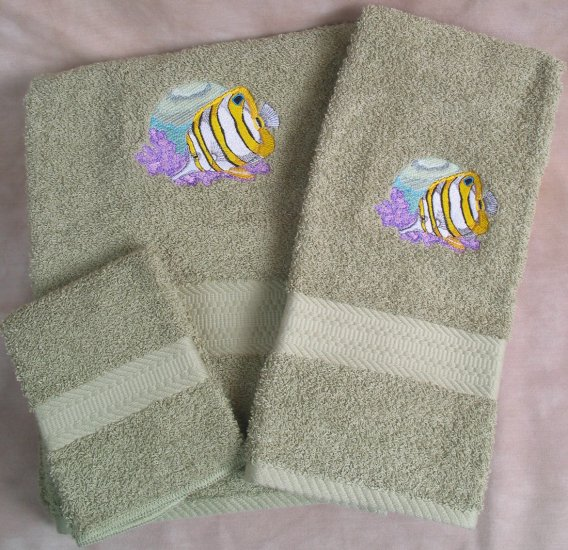 Embroidered Butterfly Fish On Sage Green Wash Hand Bath