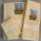 Embroidered Moon Weather Vane on Yellow Wash Hand Bath Towels Set
