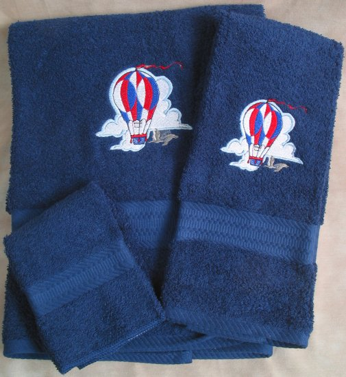 Embroidered Hot Air Balloon Dark Blue Wash Hand Bath Towel Set