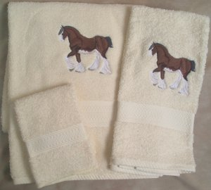 Embroidered Clydesdale Draft Horses Cream Wash Hand Bath Towel Set