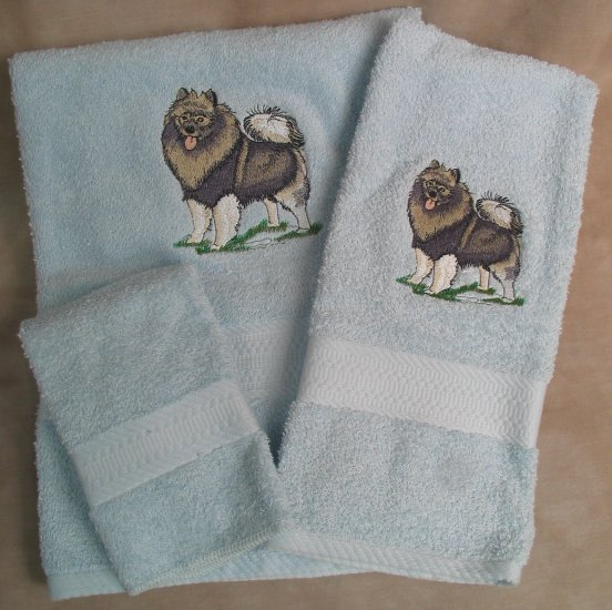 Embroidered Keeshond Dog Blue Wash Hand Bath Towel Set