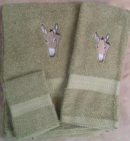 Embroidered Donkey Head on Sage Green Wash Hand Bath Towel Set