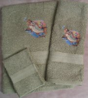 Embroidered Large Mouth Bass Fish on Sage Green Wash Hand Bath Towel Set