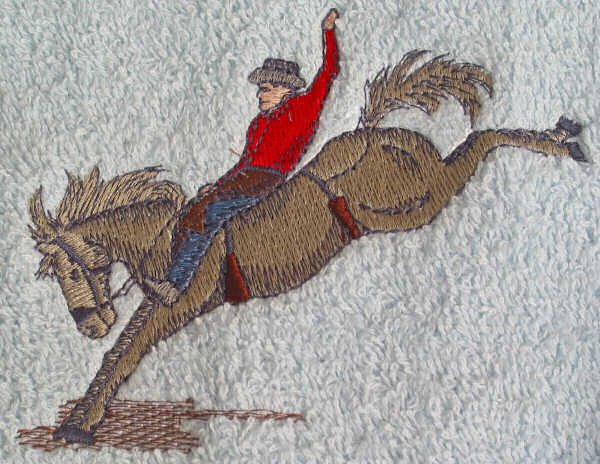 Embroidered Bareback Bronco HORSE Light Blue Wash Hand Bath Towel Set