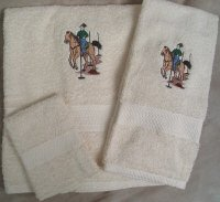 Embroidered Pole Bending Horse and Rider on Cream Wash Hand Bath Towel Set
