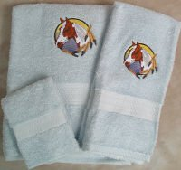 Embroidered Indian Paint Horse Head on Light Blue Wash Hand Bath Towel Set