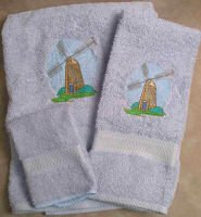 Embroidered Gray Dutch Wooden Windmill on Light Blue Wash Hand Bath Towel Set