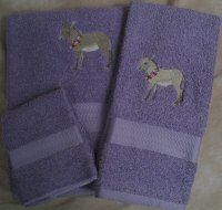 Embroidered Gray Donkey with Flowers on Laavendar Wash Hand Bath Towel Set