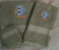 Embroidered Red and White Lighthouse on Sage Green Wash Hand Bath Towels Set
