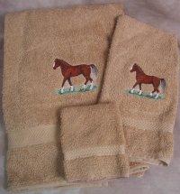 Embroidered Morgan Horse on Beige Wash Hand Bath Towel Set