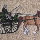 Embroidered Horse and Cart on Beige Wash Hand Bath Towel Set