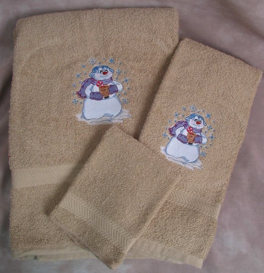 Embroidered Snowman with Hot Chocolate on Beige Wash, Hand,  Bath Towel Set