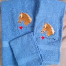Embroidered I Love My Pony Blue Wash Hand Bath Towel Set