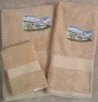 Embroidered Haying with Horses on Beige Wash Hand Bath Towels Set