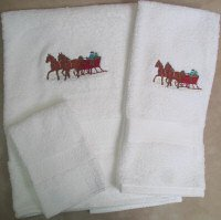 Embroidered Team of Horses Sleighing  on White Wash Hand Bath Towels Set
