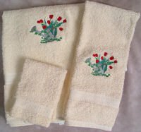 Embroidered Tulips in a Watering Can on a Cream Wash Hand Bath Towel Set