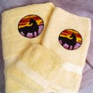 Embroidered Horse Silhouhette at Sunset on Yellow Wash Hand Bath Towel Set