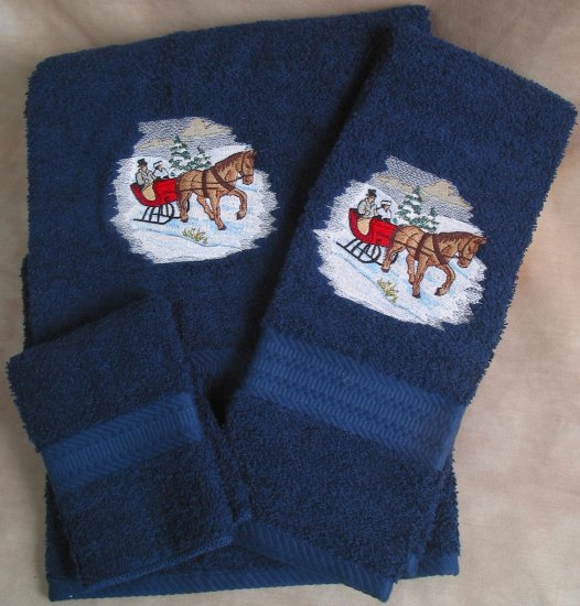 Embroidered Horse & Sleigh on a Navy Blue Wash Hand Bath Towel Set