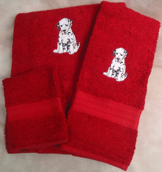 Embroidered Dalmation Puppy on a Dark Red Wash Hand Bath Towel Set