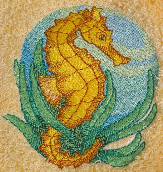 Embroidered Seahorse on a Cream Wash Hand Bath Towel Set