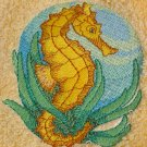Embroidered Seahorse on a Cream Wash Hand Bath Towel Set
