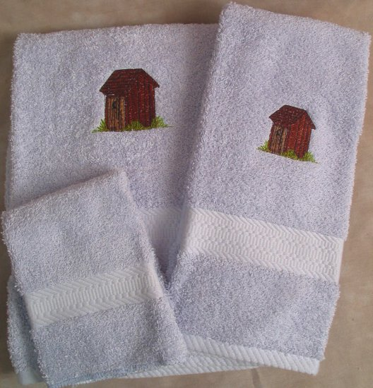 Embroidered Outhouse on a Light Blue Wash Hand Bath Towel Set
